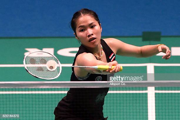Ratchanok Intanon of Thailand returns to Tai Tzu Ying of Chinese Taipei during the Women Singlae Final during the BWF World Super Series Badminton...