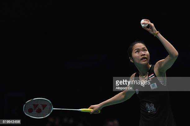 Ratchanok Intanon of Thailand serves to Wang Yihan of China during the Semi Finals of the Women Singles during the BWF World Super Series Badminton...