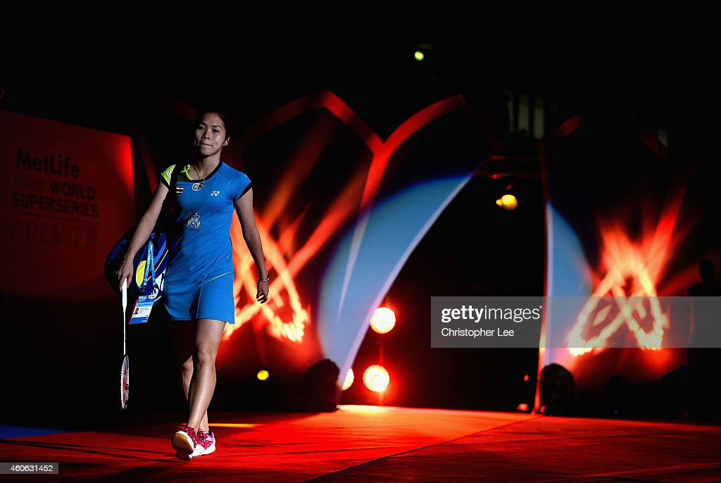 <a gi-track='captionPersonalityLinkClicked' href=/galleries/search?phrase=Ratchanok+Intanon&family=editorial&specificpeople=6597063 ng-click='$event.stopPropagation()'>Ratchanok Intanon</a> of Thailand walks out onto the court before she plays against Akane Yamaguchi of Japan in the Womens Singles during day two of the BWF Destination Dubai World Superseries Finals on December 18, 2014 in Dubai, United Arab Emirates.