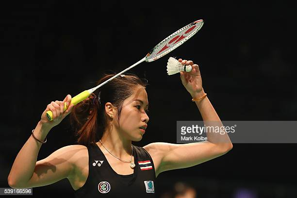 Ratchanok Intanon of Thialand prepares to serve as she competes in her 2016 Australian Badminton Open quarterfinal match against Saina Nehwal of...