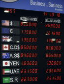 A rate board showing various foreign currencies is displayed at the currency exchange shop in Islamabad on October 14 2010 The US dollar fell against...
