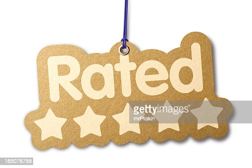 Rated 'FIVE STARS' shaped label