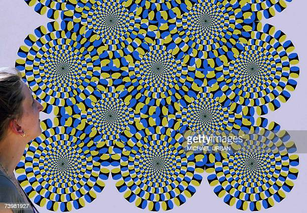 A woman watches an optical illusion shown 26 April 2007 at the Optikpark in Rathenow eastern Germany The park situated on the grounds of a regional...