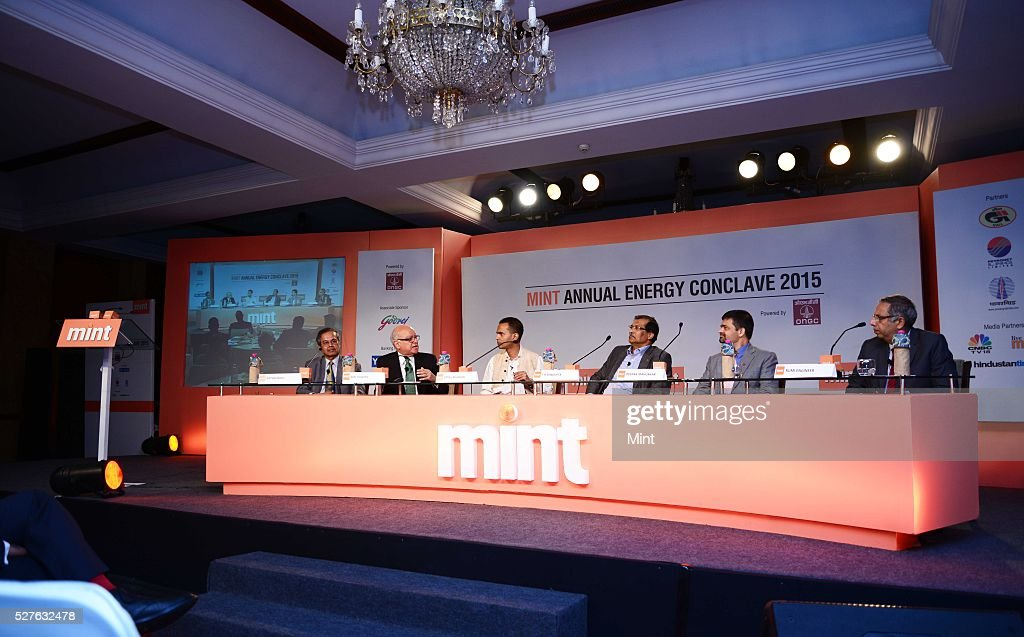 Rathin Basu, Country President of Alstom India and South Asia, Anil Razdan former Power Secretary, Utpal Bhaskar, T K sengupta Director off shore ONGC, Deepak Mahurkar Leader, Oil and Gas Industry PWC and Rumi Engineer Business Head Green Building Consultancy Service, Godrej and Boyce Mfg Ltd at Mint Annual Energy Conclave on August 28, 2015 in New Delhi, India.