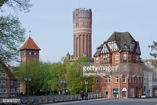 Ratsmuhle mill, water tower, Luneburg, Lower Saxony, Germany