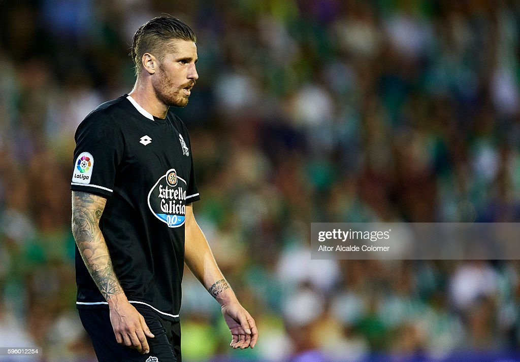 Raul Albentosa of RC Deportivo La Coruna looks on during the match between Real Betis Balompie v RC Deportivo La Coruna as part of La Liga at Estadio...