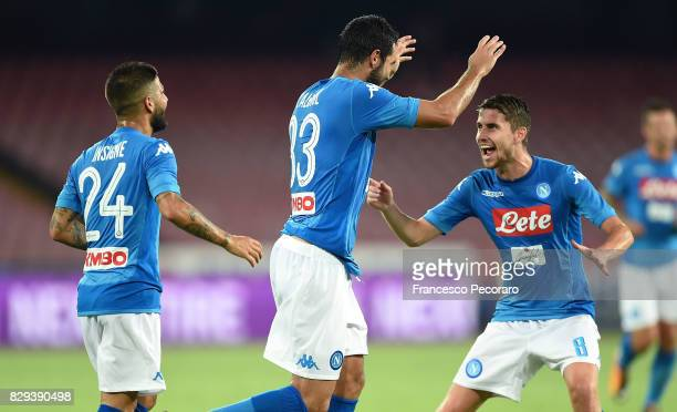 Raul Albiol and Jorginho of SSC Napoli celebrate the 20 goal scored by Raul Albiol during the preseason friendly match between SSC Napoli and...