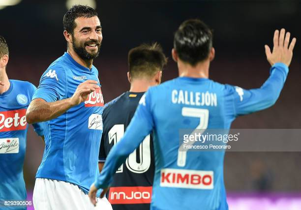 Raul Albiol and Jose Callejon of SSC Napoli celebrate the 20 goal scored by Raul Albiol during the preseason friendly match between SSC Napoli and...