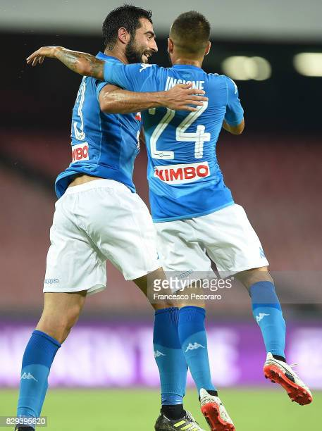 Raul Albiol and Lorenzo Insigne of SSC Napoli celebrate the 20 goal scored by Raul Albiol during the preseason friendly match between SSC Napoli and...