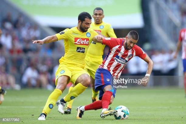 Raul Albiol of Napoli and Yannick Ferreira Carrasco of Atletico de Madrid durign the first Audi Cup football match between Atletico Madrid and SSC...