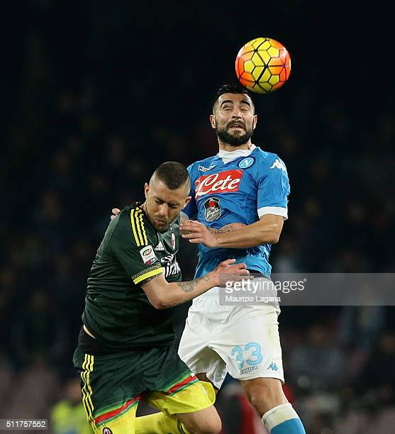 Raul Albiol of Napoli competes for the ball in air with Jeremy Menz of Milan during the Serie A between SSC Napoli and AC Milan at Stadio San Paolo...