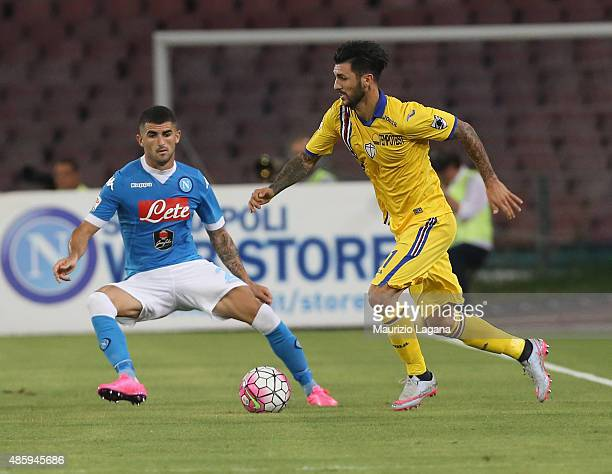 Raul Albiol of Napoli competes for the ball with Roberto Soriano of Sampdoria during the Serie A match between SSC Napoli and UC Sampdoria at Stadio...