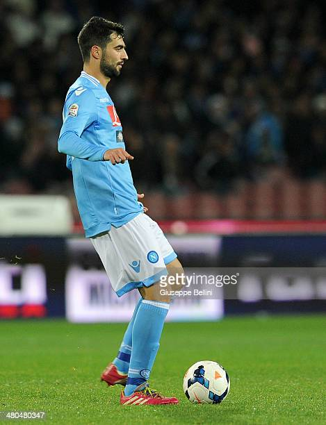 Raul Albiol of Napoli in action during the Serie A match between SSC Napoli and ACF Fiorentina at Stadio San Paolo on March 23 2014 in Naples Italy