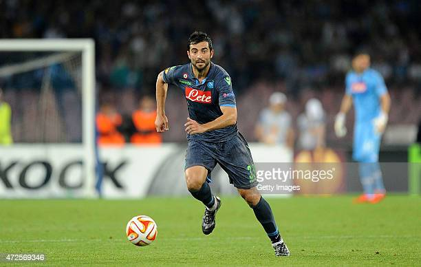 Raul Albiol of Napoli in action during the UEFA Europa League Semi Final between SSC Napoli and FC Dnipro Dnipropetrovsk on May 7 2015 in Naples Italy