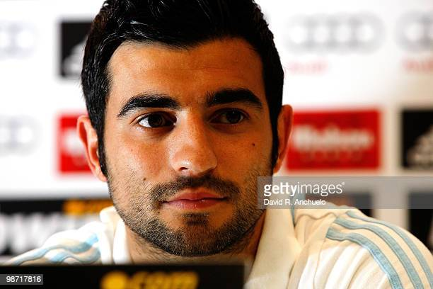 Raul Albiol of Real Madrid gives a press conference after a training sessiona at Valdebebas on April 28 2010 in Madrid Spain