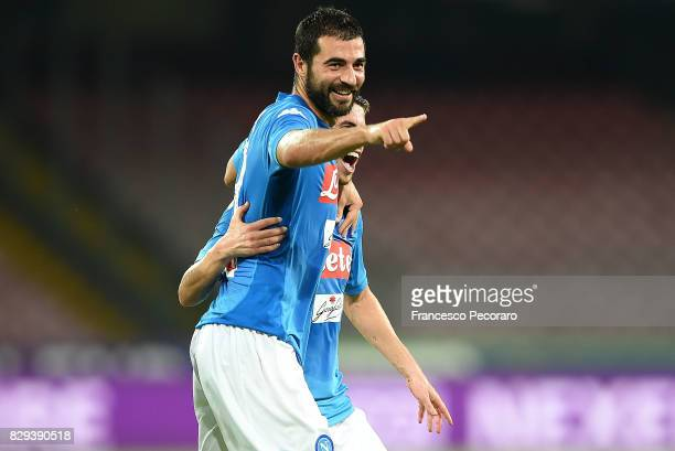 Raul Albiol of SSC Napoli celebrates after scoring goal 20 during the preseason friendly match between SSC Napoli and Espanyol at Stadio San Paolo on...