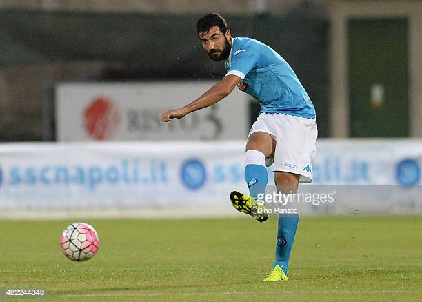 Raul Albiol of SSC Napoli in action during the preseason frienldy match between SSC Napoli and Feralpi Salo at Stadio Briamasco on July 24 2015 in...