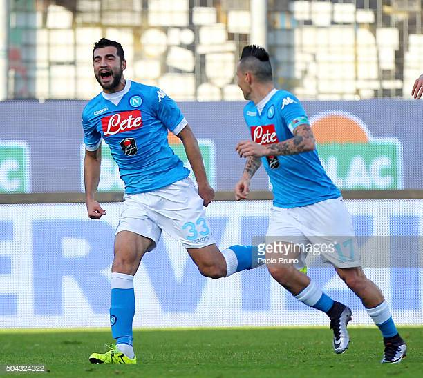 Raul Albiol with his teammate Marek Hamsik of SSC Napoli celebrates after scoring the opening goal during the Serie A match between Frosinone Calcio...