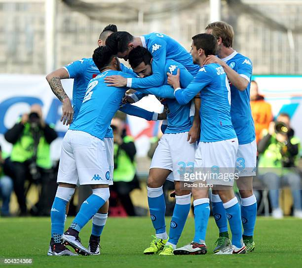 Raul Albiol with his teammates of SSC Napoli celebrates after scoring the opening goal during the Serie A match between Frosinone Calcio and SSC...