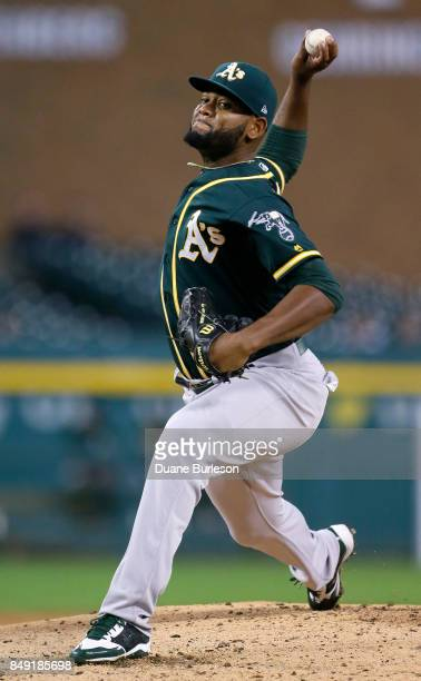 Raul Alcantara of the Oakland Athletics pitches against the Detroit Tigers during the second inning at Comerica Park on September 18 2017 in Detroit...