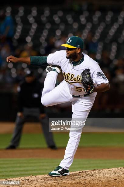 Raul Alcantara of the Oakland Athletics pitches against the Houston Astros during the sixth inning at the Oakland Coliseum on September 8 2017 in...