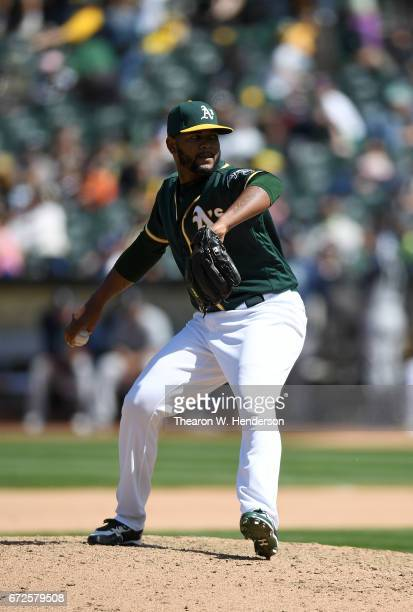 Raul Alcantara of the Oakland Athletics pitches against the Seattle Mariners in the top of the seventh inning at Oakland Alameda Coliseum on April 23...