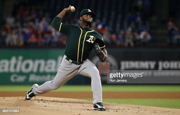 Raul Alcantara of the Oakland Athletics pitches against the Texas Rangers during the first inning at Globe Life Park in Arlington on September 29...