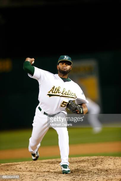 Raul Alcantara of the Oakland Athletics pitches during the game against the Houston Astros at the Oakland Alameda Coliseum on April 14 2017 in...