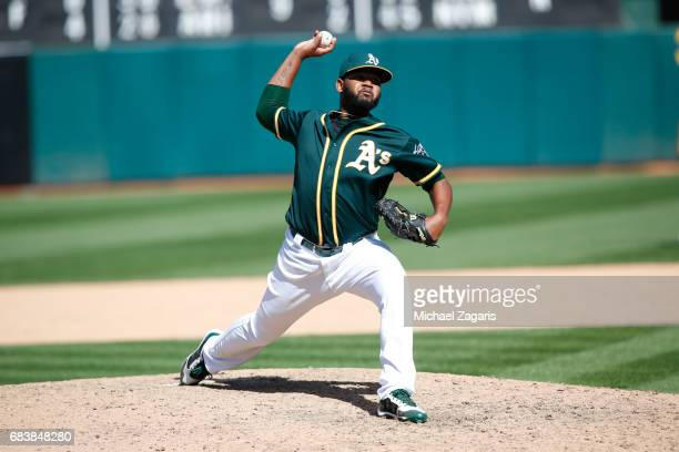 Raul Alcantara of the Oakland Athletics pitches during the game against the Seattle Mariners at the Oakland Alameda Coliseum on April 23 2017 in...