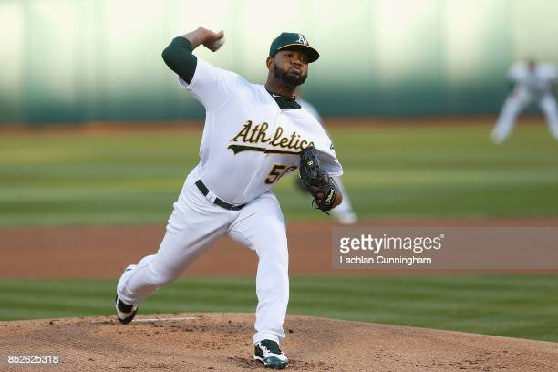 Raul Alcantara of the Oakland Athletics pitches in the first inning a against the Texas Rangers at Oakland Alameda Coliseum on September 23 2017 in...