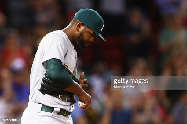 Raul Alcantara of the Oakland Athletics reacts after Mookie Betts of the Boston Red Sox hit a two run home run during the sixth inning at Fenway Park...
