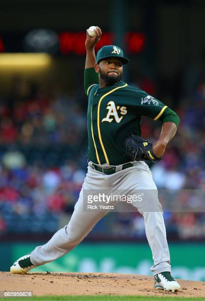 Raul Alcantara of the Oakland Athletics throws in the first inning against the Texas Rangers at Globe Life Park in Arlington on April 7 2017 in...