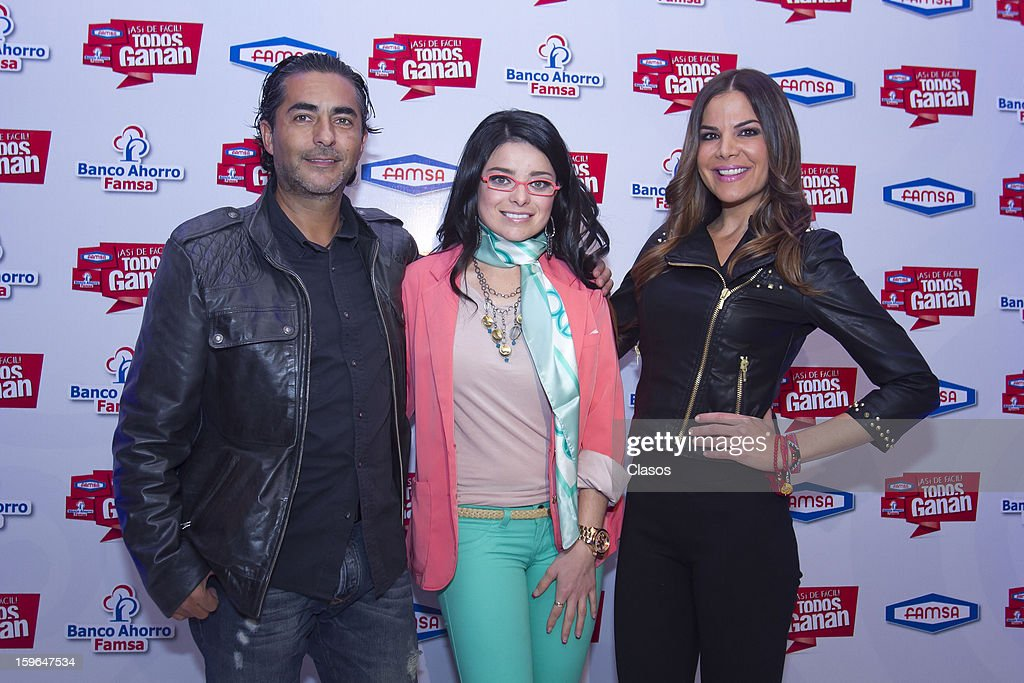 Raul Araiza, Violeta Isfel and Vielka Valenzuela pose during a press conference of Famsa on January 16, 2013 in Mexico City, Mexico.