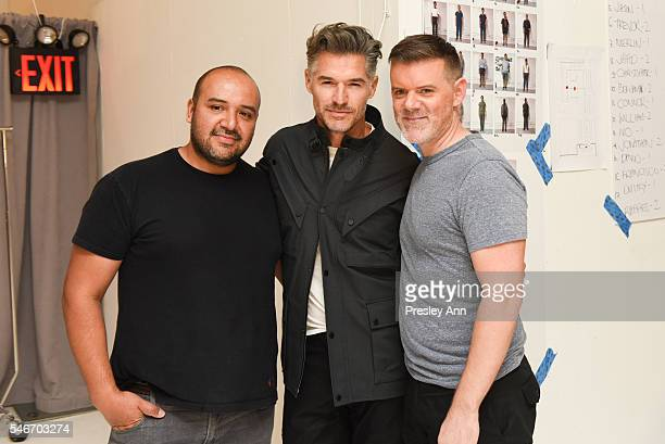 Raul Arevalo Eric Rutherford and Bradley Schmidt are seen backstage at the Cadet show during New York Fashion Week Men's S/S 2017 at Skylight...