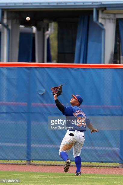 Raul Beracierta of the Mets sets up to make a catch during the Gulf Coast League game between the Marlins and the Mets on July 21 at the New York...