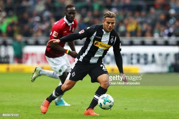 Raul Bobadilla Borussia Monchengladbach in action during the Bundesliga match between Borussia Moenchengladbach and Hannover 96 at BorussiaPark on...