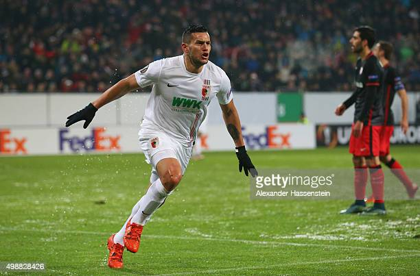 Raul Bobadilla of Augsburg celebrates as he scores their second goal with a header during the UEFA Europa League Group L match between FC Augsburg...