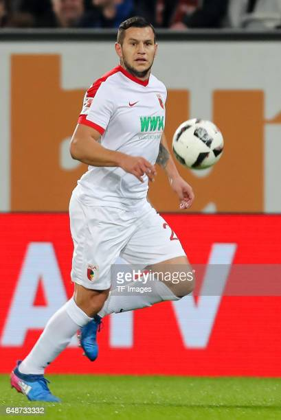 Raul Bobadilla of Augsburg controls the ball during the Bundesliga match between FC Augsburg and RB Leipzig at WWK Arena on March 3 2017 in Augsburg...