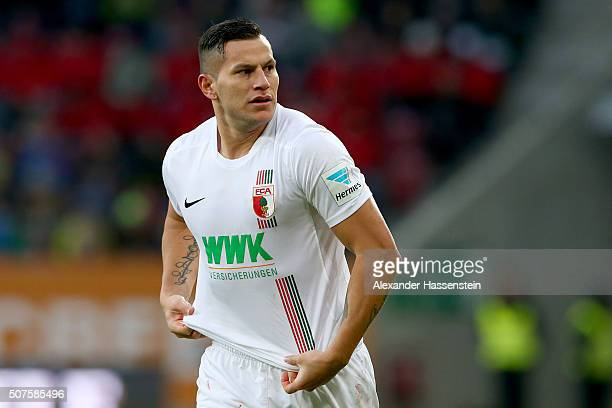 Raul Bobadilla of Augsburg during the Bundesliga match between FC Augsburg and Eintracht Frankfurt at WWK Arena on January 30 2016 in Augsburg Germany