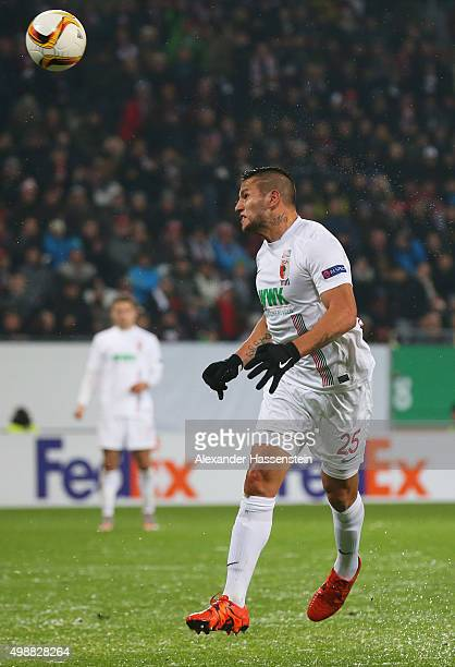 Raul Bobadilla of Augsburg scores their second goal with a header during the UEFA Europa League Group L match between FC Augsburg and Athletic Club...