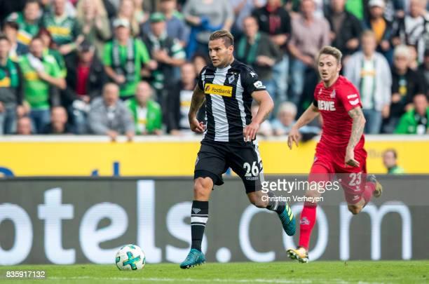 Raul Bobadilla of Borussia Moenchengladbach runs with the ball during the Bundesliga match between Borussia Moenchengladbach and 1 FC Koeln at...