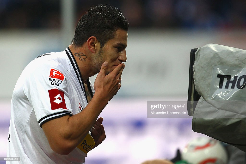 Raul Bobadilla of Gladbach celebrates scoring his first team goal in front of a TV camera during the Bundesliga match between 1899 Hoffenheim and Borussia Moenchengladbach at Rhein-Neckar Arena on October 17, 2010 in Sinsheim, Germany.