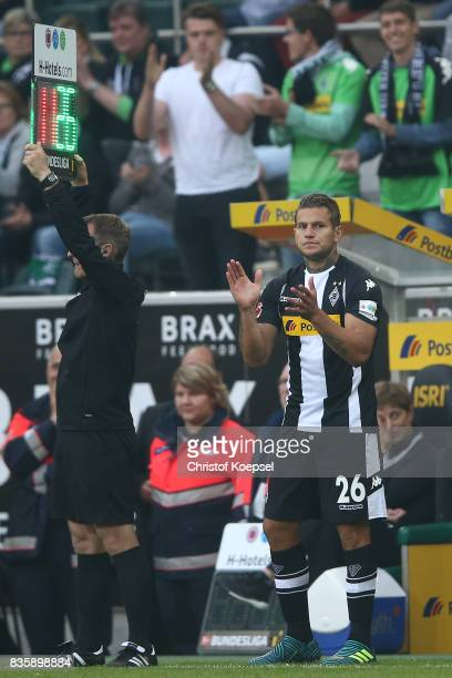 Raul Bobadilla of Moenchengladbach about to come on during the Bundesliga match between Borussia Moenchengladbach and 1 FC Koeln at BorussiaPark on...