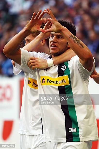 Raul Bobadilla of Moenchengladbach celebrates scoring the second goal during the Bundesliga match between FC Schalke 04 and Borussia Moenchengladbach...