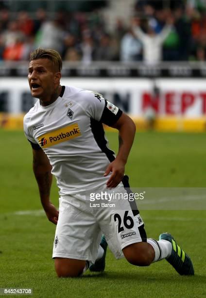 Raul Bobadilla of Moenchengladbach reacts during the Bundesliga match between Borussia Moenchengladbach and Eintracht Frankfurt at BorussiaPark on...