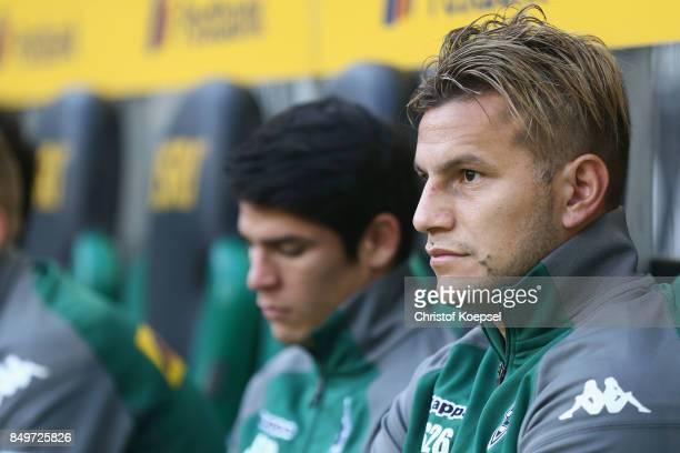 Raul Bobadilla of Moenchengladbach sits on the bench prior to the Bundesliga match between Borussia Moenchengladbach and VfB Stuttgart at...