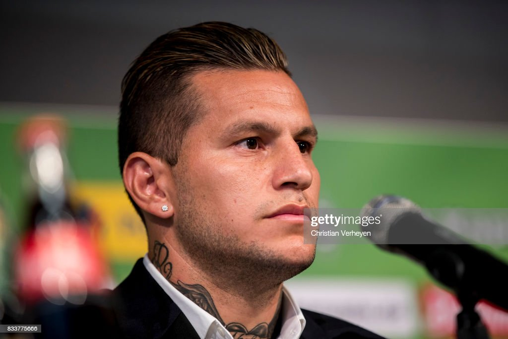 Raul Bobadilla talks to the media after he signs a new contract for Borussia Moenchengladbach at Borussia-Park on August 17, 2017 in Moenchengladbach, Germany.