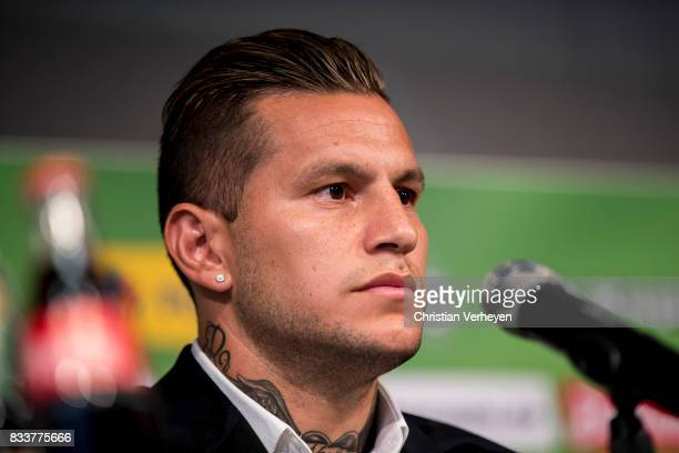 Raul Bobadilla talks to the media after he signs a new contract for Borussia Moenchengladbach at BorussiaPark on August 17 2017 in Moenchengladbach...