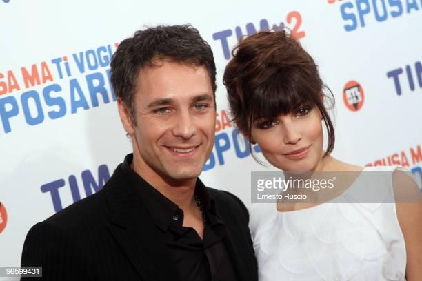 Raul Bova and Michela Quattrociocche attend the premiere of ''Scusa Ma Ti Voglio Sposare'' at Embassy Cinema on February 11 2010 in Rome Italy