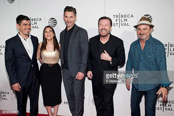 Raul Castillo America Ferrera Eric Bana Ricky Gervais and Kevin Pollak attend Tribeca Talks After the Movie 'Special Correspondents' during the 2016...
